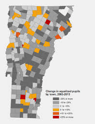 Map Of Vermont Towns Vermont Enrollment Equalized Pupils 2003 2013 Public