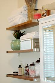 Wooden Shelves For Bathroom Bathroom Appealing Small Bathroom Decoration Using Mounted Wall