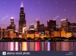 Sears Tower by Chicago Skyline At Night High Resolution Image With Willis Tower