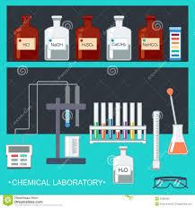 chemical laboratory flat design chemical glassware measuring