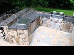 outdoor kitchen barbeque project featuring natural thin stone