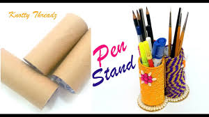 diy best out of waste making a pen stand using tissue rolls