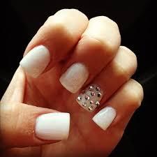 white nails with rhinestones fmag com