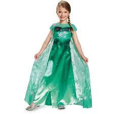 Elsa Halloween Costume Girls Disney Frozen Fever Elsa Child Halloween Costume Walmart