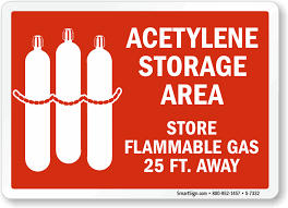what should be stored in a flammable storage cabinet acetylene storage area store flammable gas 25 feet away sign sku s