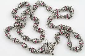 silver skull chain necklace images Red ruby eyed skull link chain silver necklace nk 120 jpg