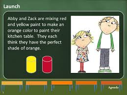 launch abby and zack are mixing red and yellow paint to make an