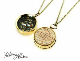 necklace watch vintage images Working compass necklace with vintage map and robert frost quote jpg
