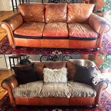 Recovering Leather Sofa Makeover Recovered Cushions Vintage Leather