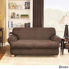 Leather Slipcovers For Sofa Sure Fit Stretch Faux Leather 2 T Cushion Sofa Slipcover