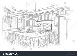 Sketch Kitchen Design by Beautiful Custom Kitchen Design Drawing Black Stock Illustration
