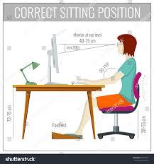 Computer Desk Posture Correct Spine Sitting Posture Computer Health Stock Illustration