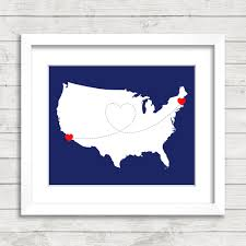 Boston Map Usa by 8x10 Usa Love Map Long Distance Heart Trail Boston