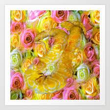 python snake roses and danger print by saundramyles society6