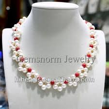 white pearls necklace designs images Handmade white pearl and red coral flower necklace wedding jpg