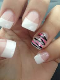 french tip with pink and black zebra stripes on ring finger i