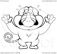 cartoon clipart of a black and white scared baboon monkey vector