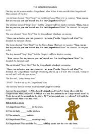 Gingerbread Man Worksheets Gingerbread Man Worksheet Free Esl Printable Worksheets Made By