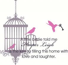 nursery room bird cage wall decal wall decal quote nursery bird cage with 3 birds and skeleton key with name and quote