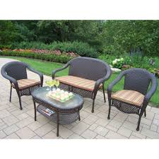 oakland living elite resin wicker 4 piece patio seating set with