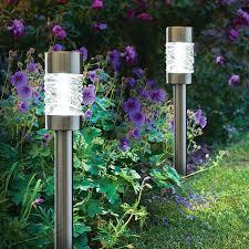 solar led stake lights martello outdoor solar stake light brushed stainless steel set
