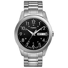 timex black friday deals timex men u0027s black dial silvertone expansion band watch 7944459 hsn