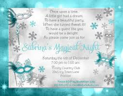 masquerade winter wonderland 15th birthday invitation aqua magical