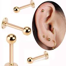 gold piercing rings images Isayoe 2 piece gold labret ring 16g spike ball surgical stainless jpg