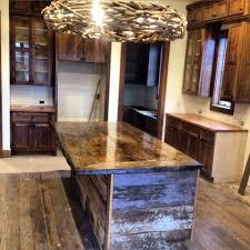 black locust slab bar top on barnwood kitchen island built by