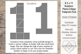 8 5x11 number photo template pack templates creative market