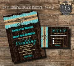 sle wedding invitation teal rustic wedding invitation and rsvp rustic wedding