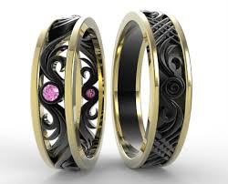 black wedding rings his and hers two tone gold his and hers pink sapphire wedding band set vidar