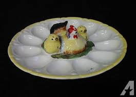 glass deviled egg platter vintage deviled egg platter w hen salt pepper for sale