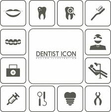 dental design dental design elements black white flat icons isolation vector
