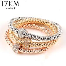 bracelet elastic heart images 17km 3pcs gold color heart charm elastic bracelets for women jpg