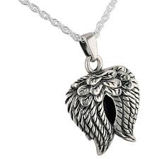 angel wings pendant and necklace for cremation ashes