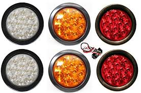 led lights for trucks and trailers new sparkling 2 white 2 red 2 amber round 4 led lights back up