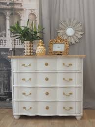 french chateau style shabby chic chest of four curvy drawers with