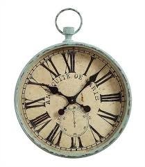 Paris Home Decor Accessories Large Iron Antique Paris Pocket Watch Look Wall Clock Distressed