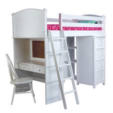 home design furniture white wooden loft bed with ladder and desk