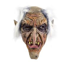 scary goblin rubber over head fancy dress mask halloween old man