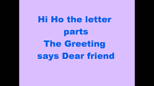 friendly letter informal letter song youtube