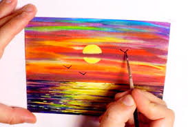 how to paint a sunset with seagulls in watercolor speed painting