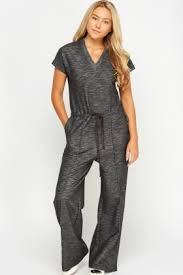 casual jumpsuit wide leg charcoal casual jumpsuit just 5