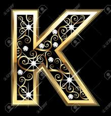 k gold letter with swirly ornaments royalty free cliparts vectors