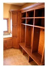hand crafted mudroom entryway wood lockers by porch light custom