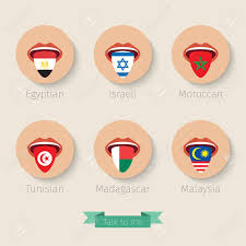 Color Of Egypt Flag Concept Of Learning Languages Or Traveling Open Mouth With Tongue