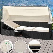 divan canapé divan canapé en polyrotin avec toit pare soleil coussins et table