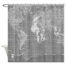 Shower Curtain World Map Shower Curtain Colonial Possessions Vintage World Map Home