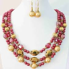 crystal design necklace images Charms rose red gold color imitation shell pearl round beads oval jpg